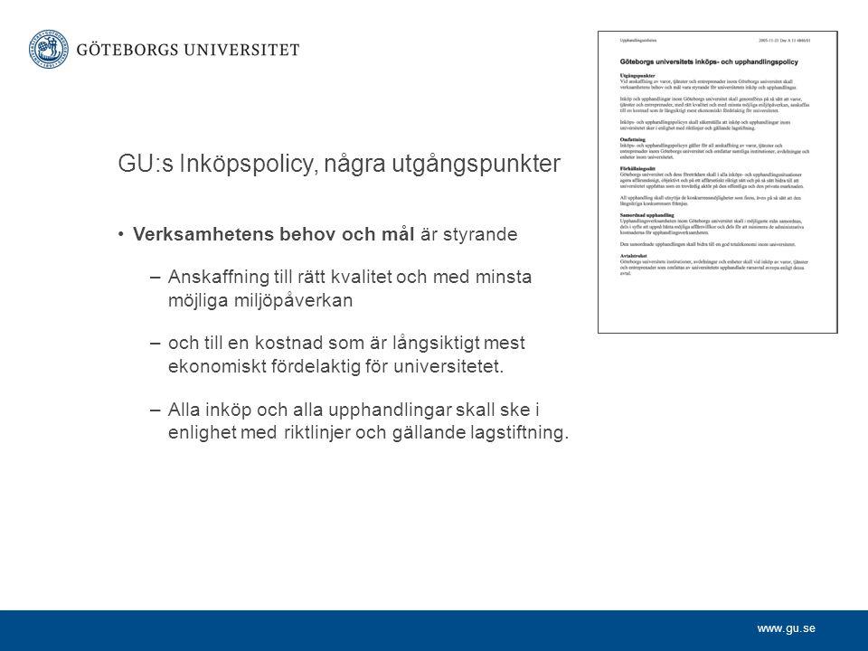 GU:s Inköpspolicy, några utgångspunkter