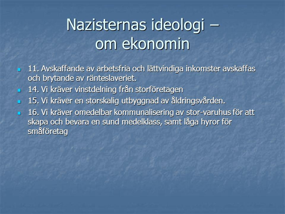 Nazisternas ideologi – om ekonomin