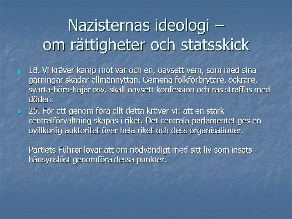 Nazisternas ideologi – om rättigheter och statsskick