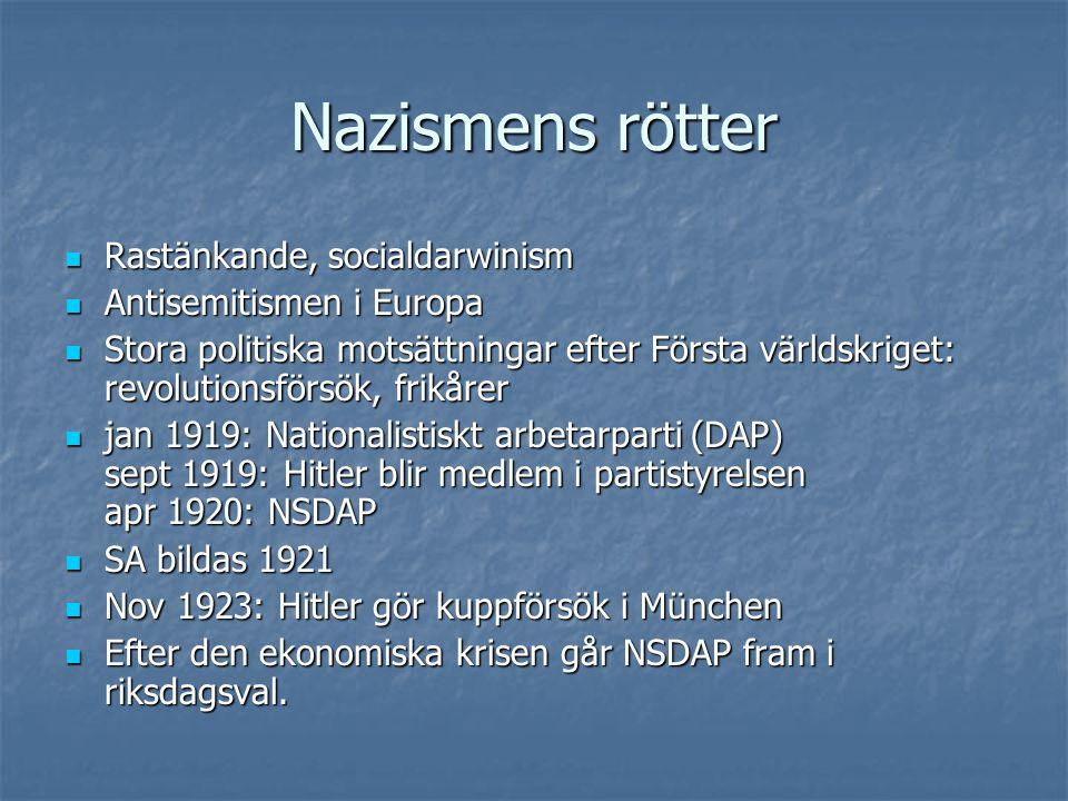 Nazismens rötter Rastänkande, socialdarwinism Antisemitismen i Europa