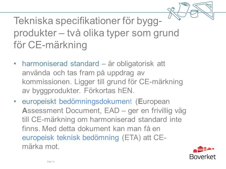 Tekniska specifikationer för bygg- produkter – två olika typer som grund för CE-märkning