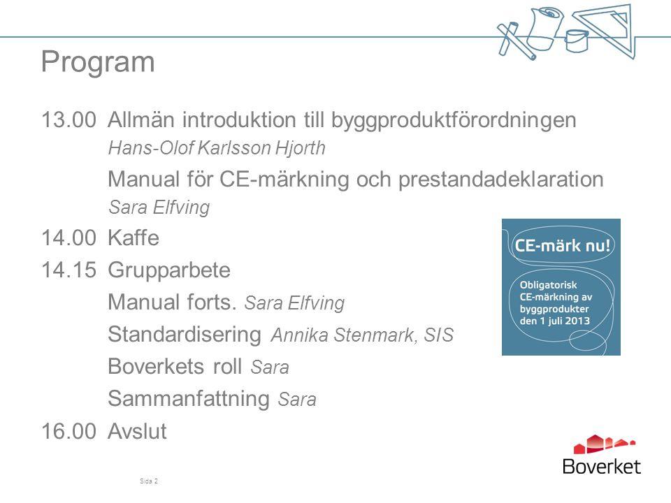 Program 13.00 Allmän introduktion till byggproduktförordningen Hans-Olof Karlsson Hjorth. Manual för CE-märkning och prestandadeklaration.