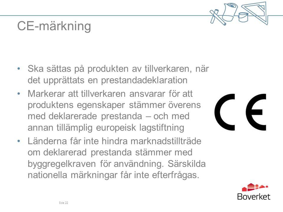 CE-märkning Ska sättas på produkten av tillverkaren, när det upprättats en prestandadeklaration.