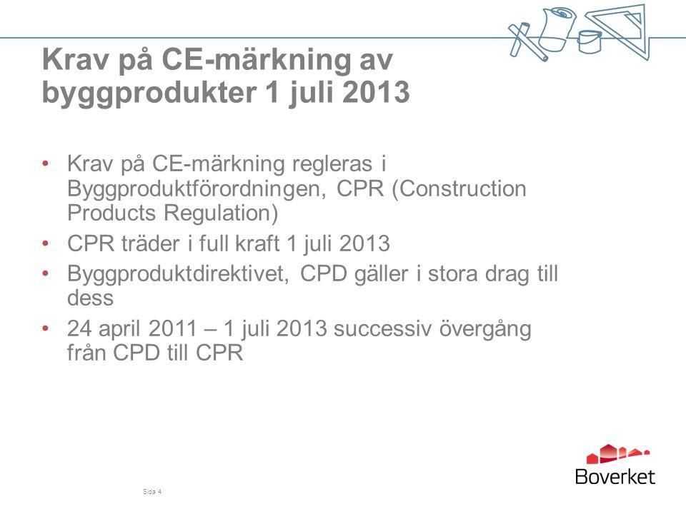 Krav på CE-märkning av byggprodukter 1 juli 2013