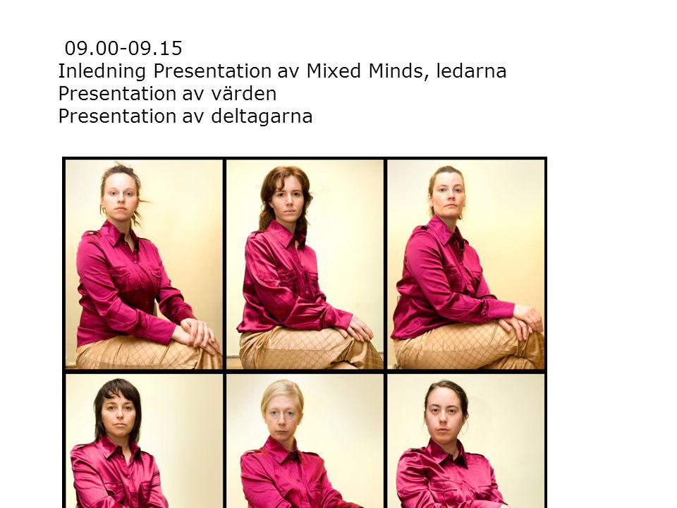 09.00-09.15 Inledning Presentation av Mixed Minds, ledarna Presentation av värden Presentation av deltagarna