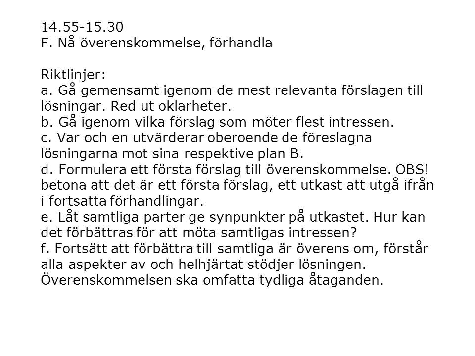 14. 55-15. 30 F. Nå överenskommelse, förhandla Riktlinjer: a