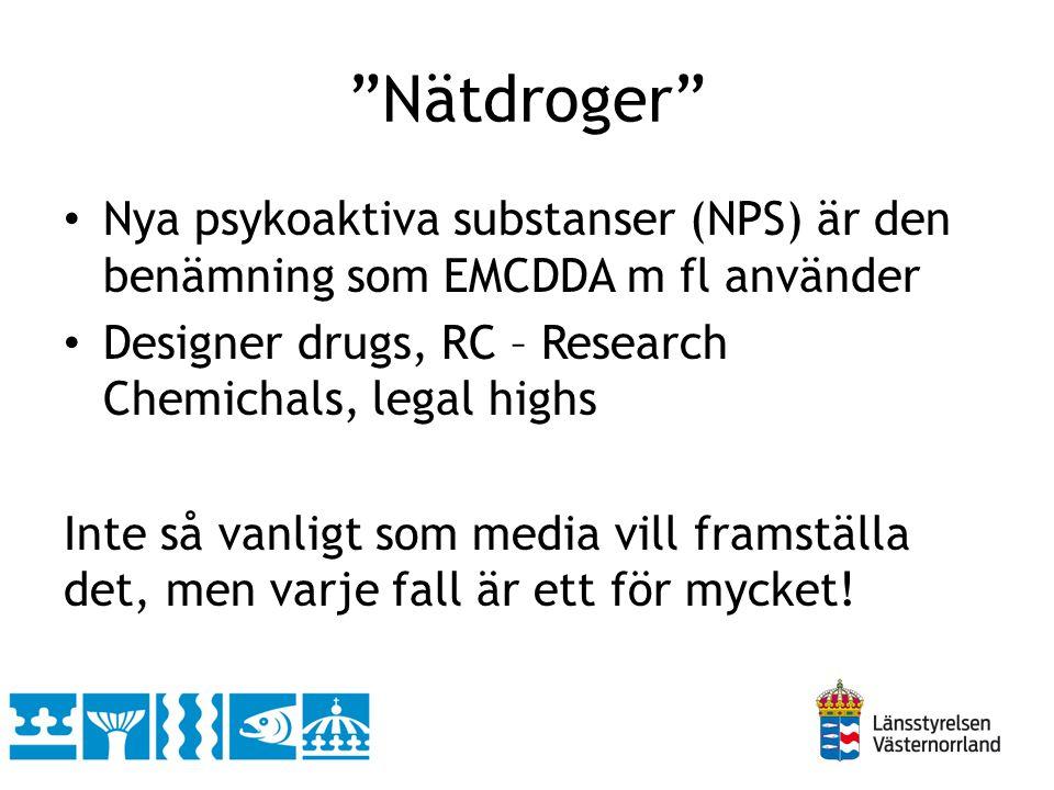 Nätdroger Nya psykoaktiva substanser (NPS) är den benämning som EMCDDA m fl använder. Designer drugs, RC – Research Chemichals, legal highs.
