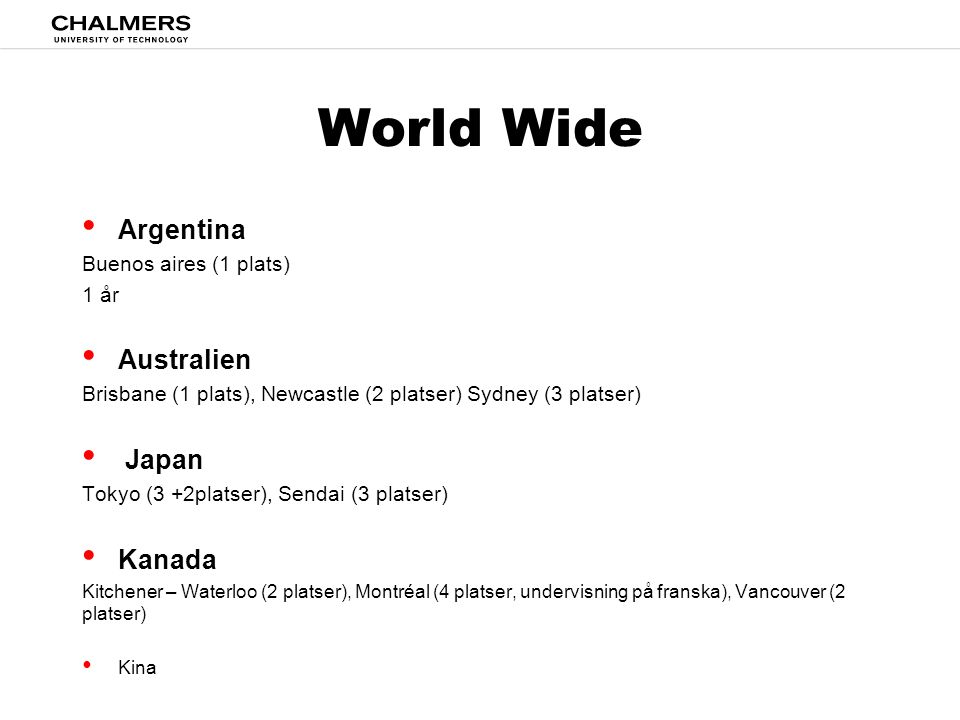 World Wide Argentina Australien Japan Kanada Buenos aires (1 plats)