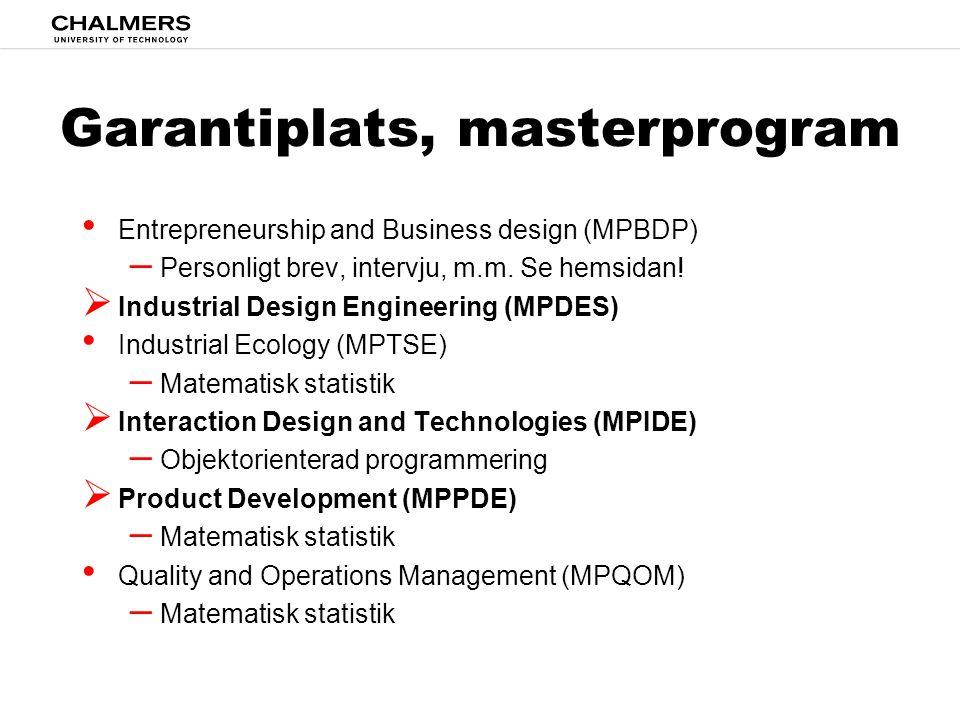 Garantiplats, masterprogram