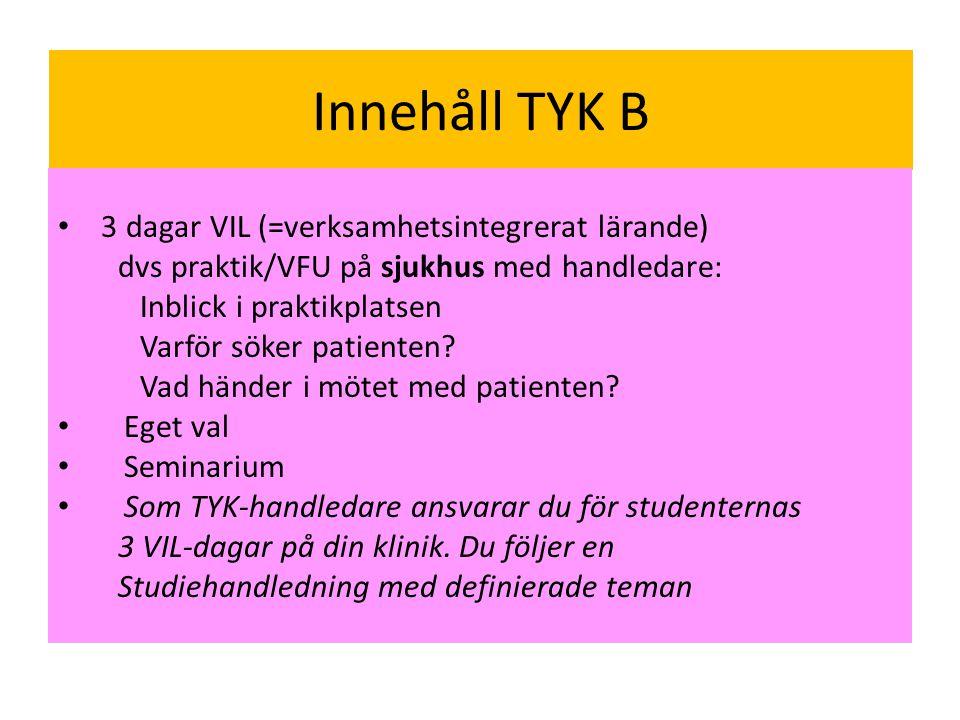 Innehåll TYK B 3 dagar VIL (=verksamhetsintegrerat lärande)
