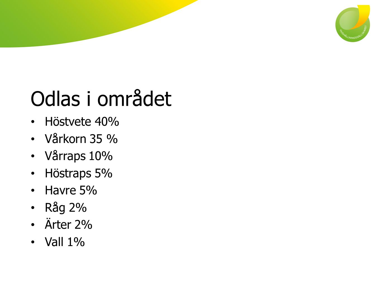 Odlas i området Höstvete 40% Vårkorn 35 % Vårraps 10% Höstraps 5%