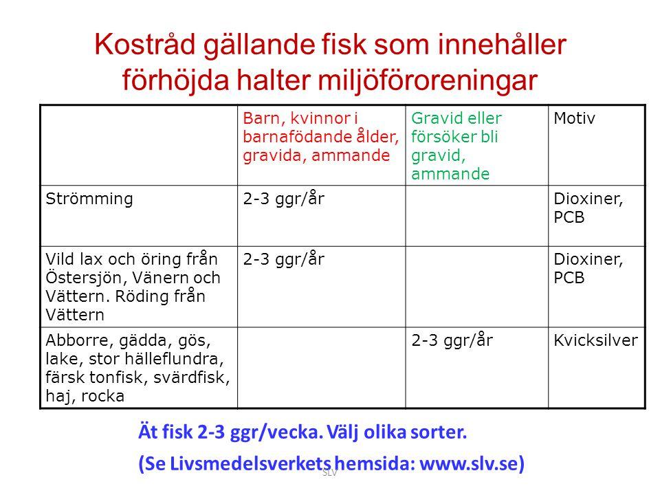 Kostråd gällande fisk som innehåller förhöjda halter miljöföroreningar