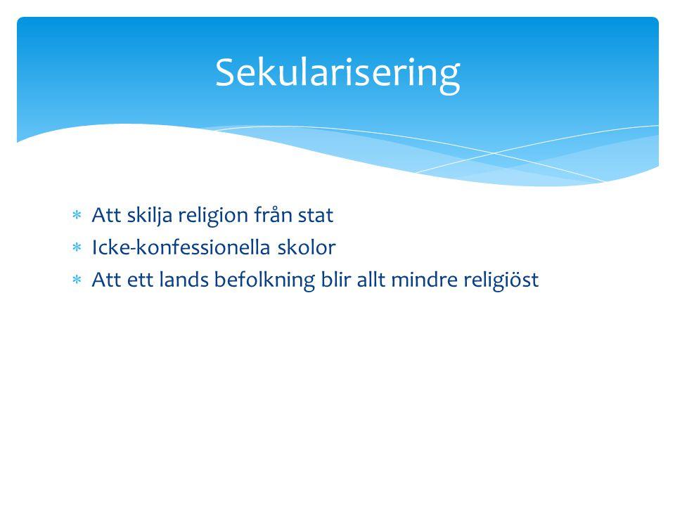 Sekularisering Att skilja religion från stat