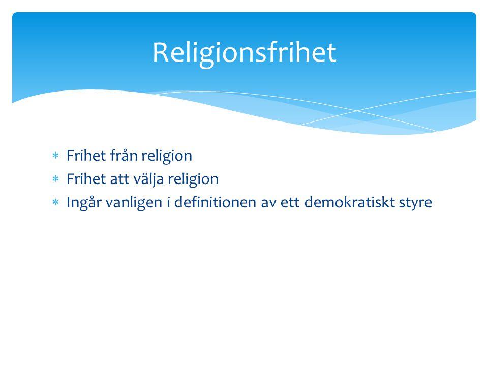 Religionsfrihet Frihet från religion Frihet att välja religion