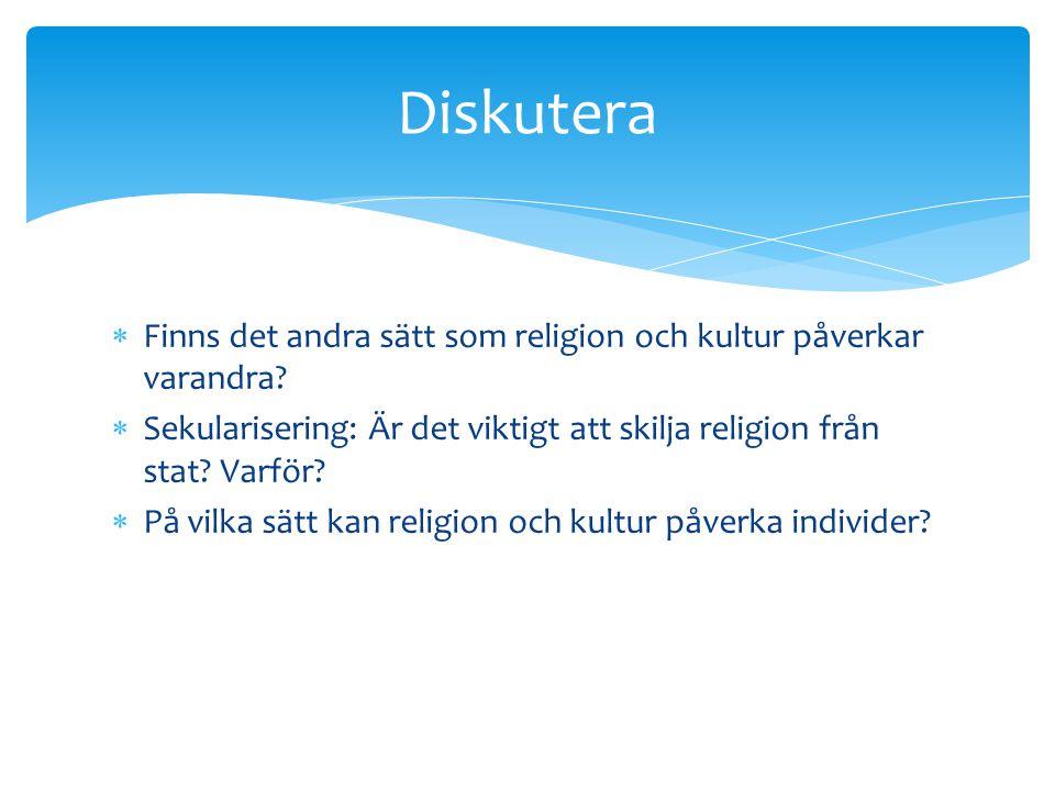 Diskutera Finns det andra sätt som religion och kultur påverkar varandra Sekularisering: Är det viktigt att skilja religion från stat Varför