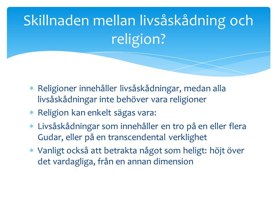 Skillnaden mellan livsåskådning och religion