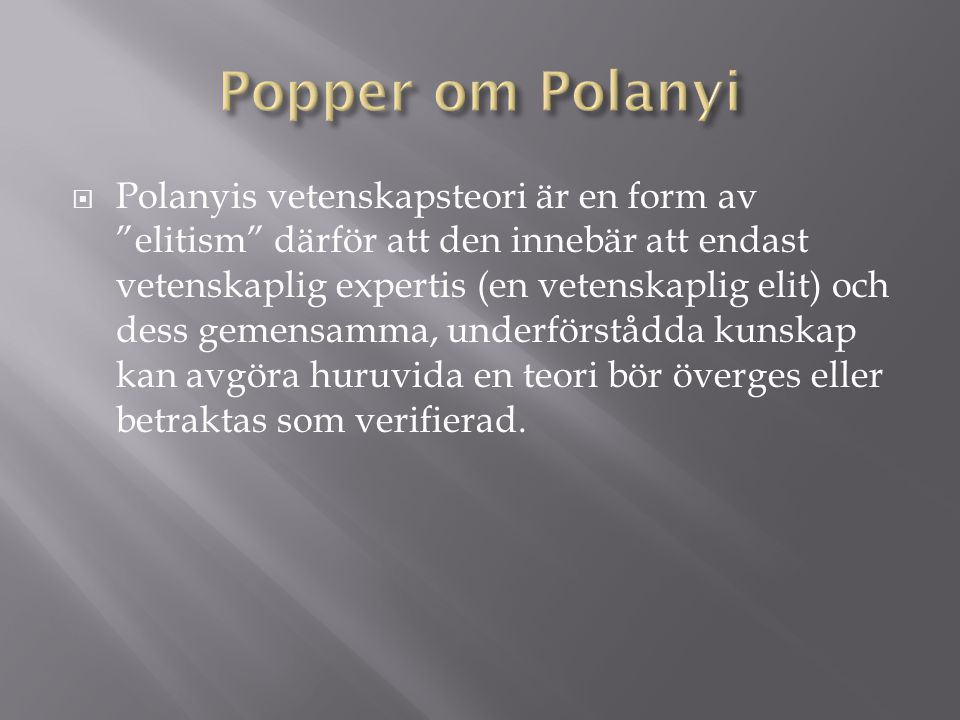 Popper om Polanyi