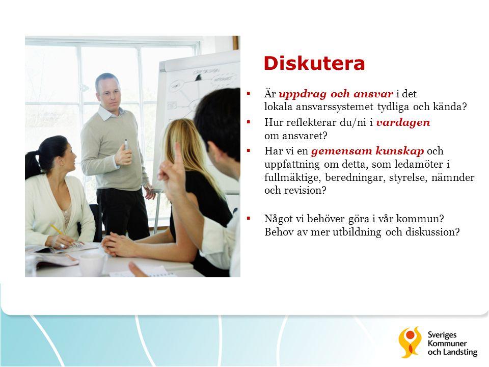 Diskutera Är uppdrag och ansvar i det lokala ansvarssystemet tydliga och kända Hur reflekterar du/ni i vardagen om ansvaret