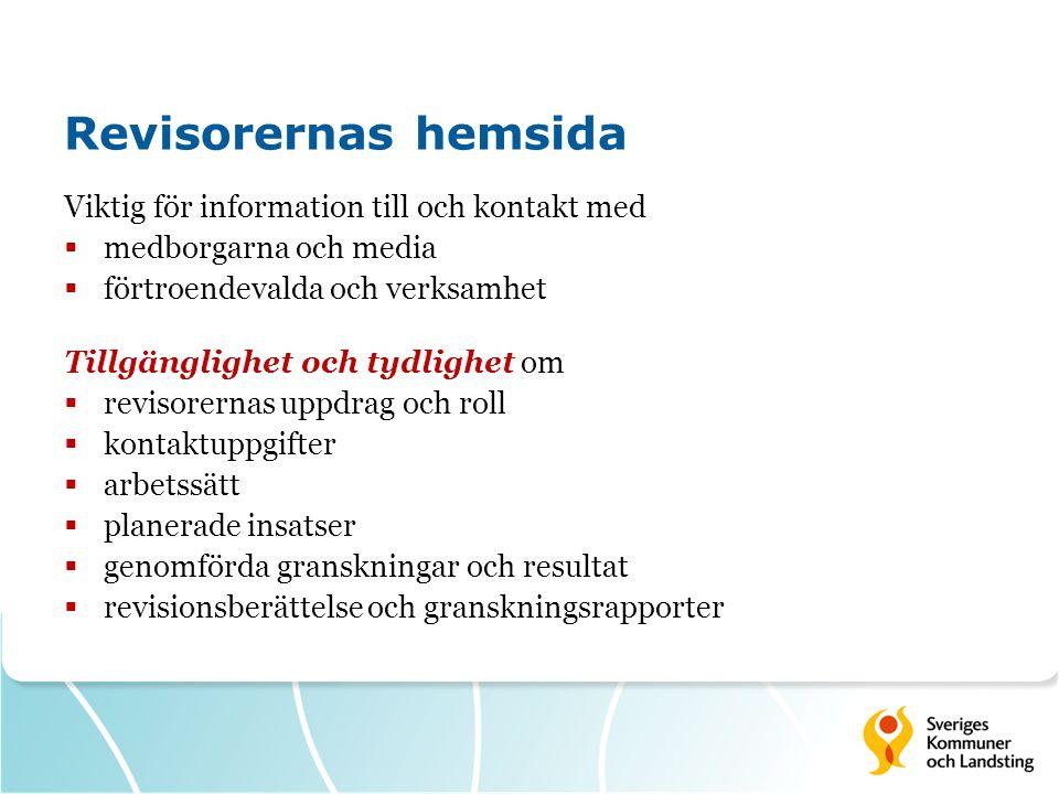 Revisorernas hemsida Viktig för information till och kontakt med