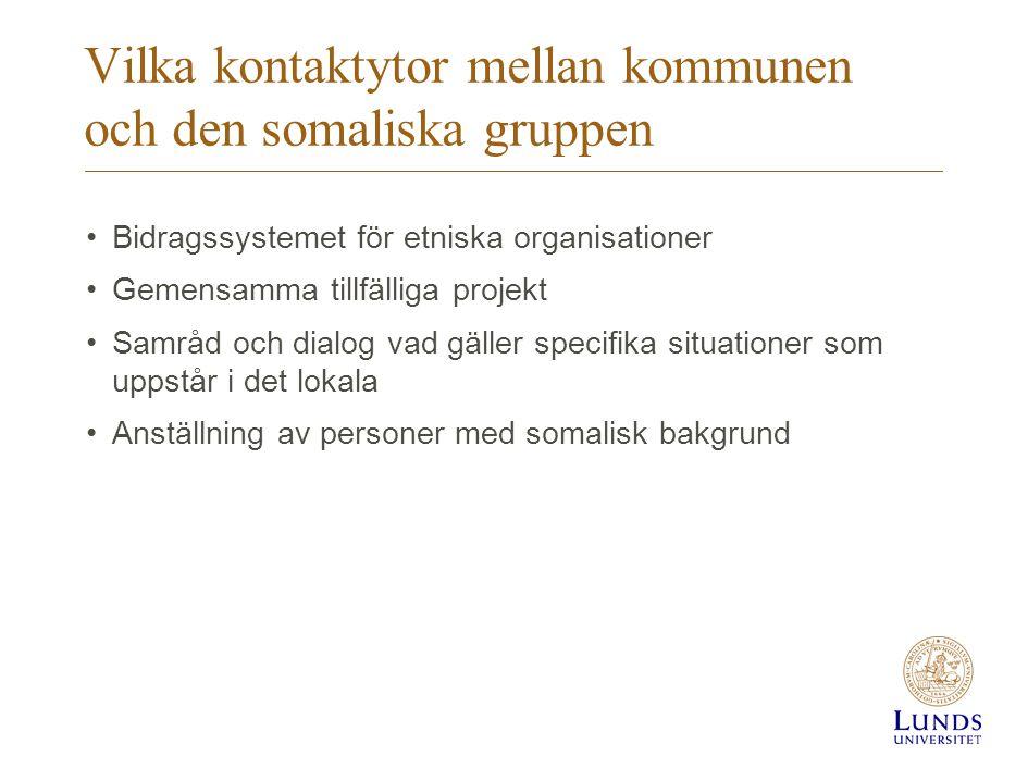 Vilka kontaktytor mellan kommunen och den somaliska gruppen