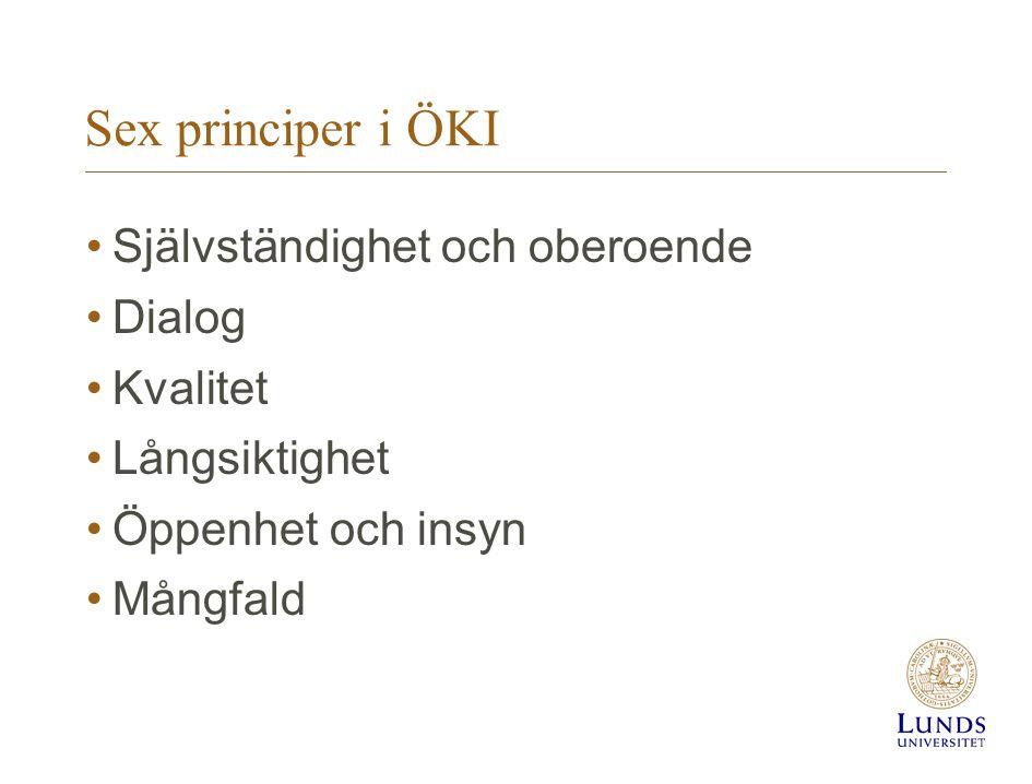 Sex principer i ÖKI Självständighet och oberoende Dialog Kvalitet
