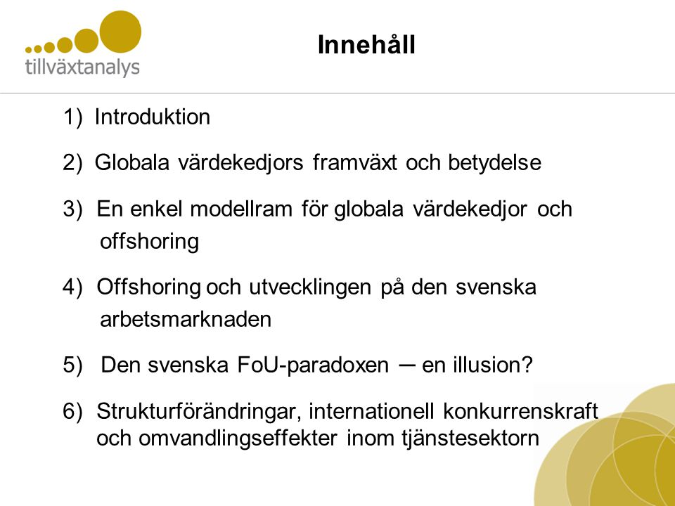 Innehåll Introduktion Globala värdekedjors framväxt och betydelse