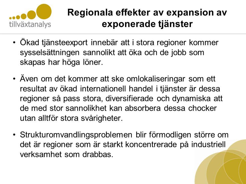 Regionala effekter av expansion av exponerade tjänster