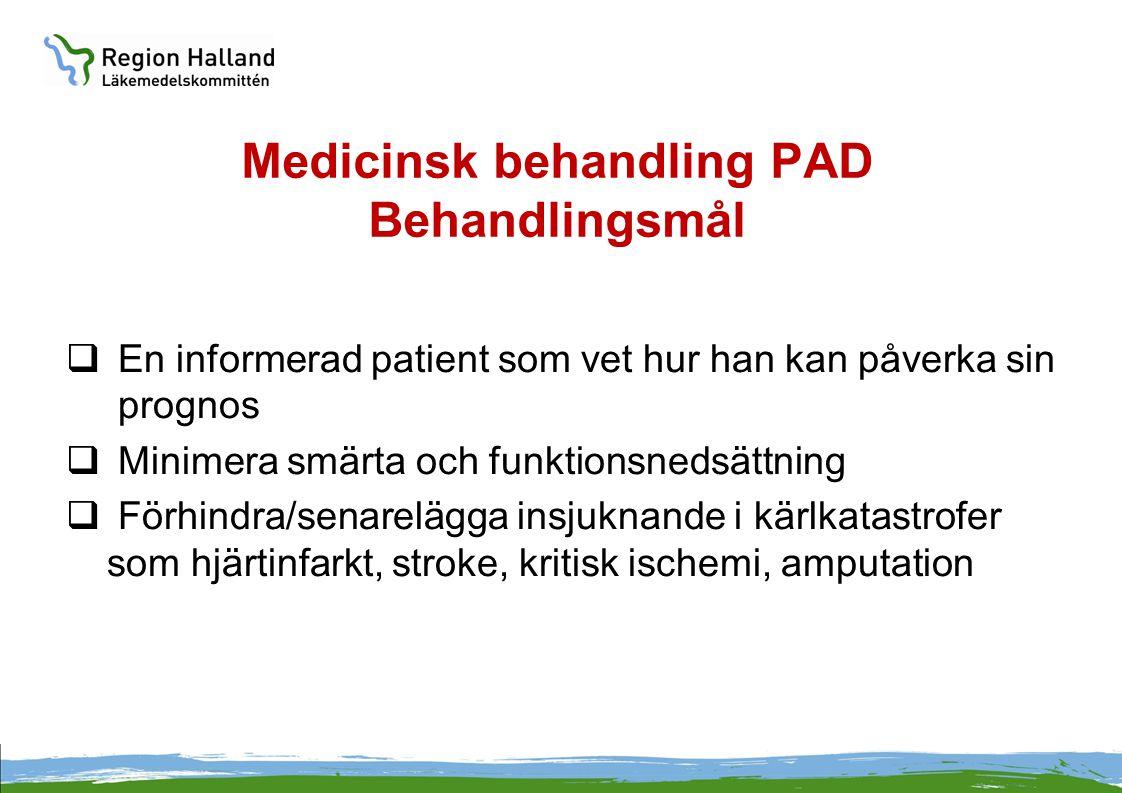 Medicinsk behandling PAD Behandlingsmål