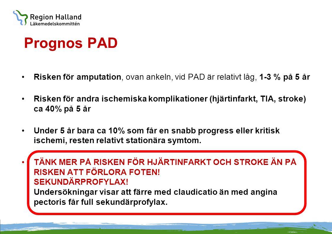 Prognos PAD Risken för amputation, ovan ankeln, vid PAD är relativt låg, 1-3 % på 5 år.
