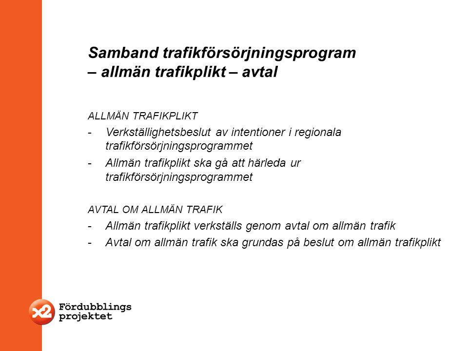 Samband trafikförsörjningsprogram – allmän trafikplikt – avtal