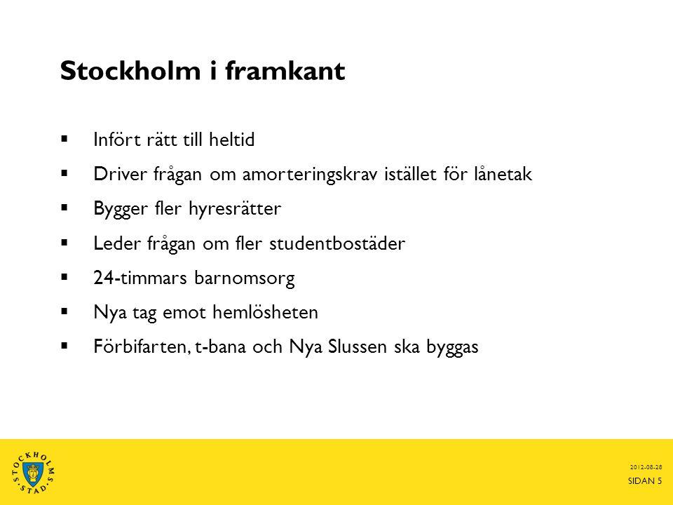 Stockholm i framkant Infört rätt till heltid