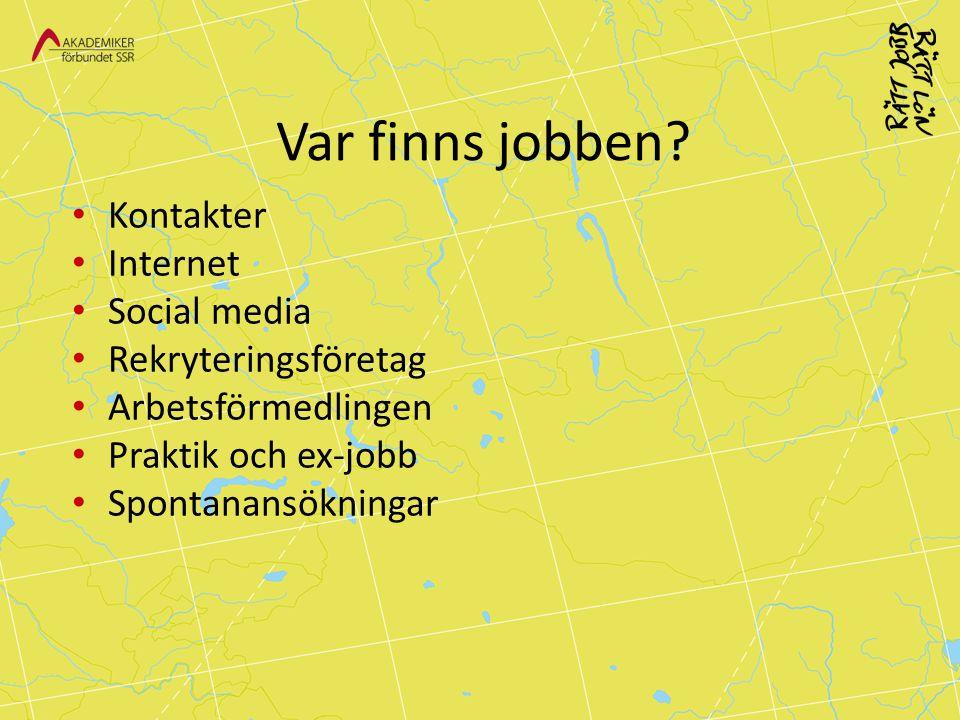 Var finns jobben Kontakter Internet Social media Rekryteringsföretag