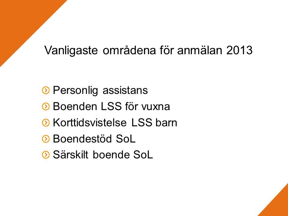 Vanligaste områdena för anmälan 2013