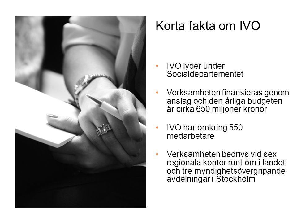 Korta fakta om IVO IVO lyder under Socialdepartementet