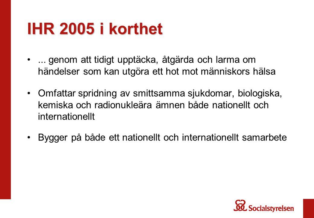IHR 2005 i korthet ... genom att tidigt upptäcka, åtgärda och larma om händelser som kan utgöra ett hot mot människors hälsa.