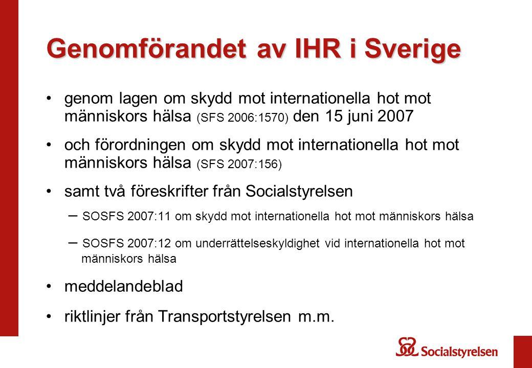 Genomförandet av IHR i Sverige