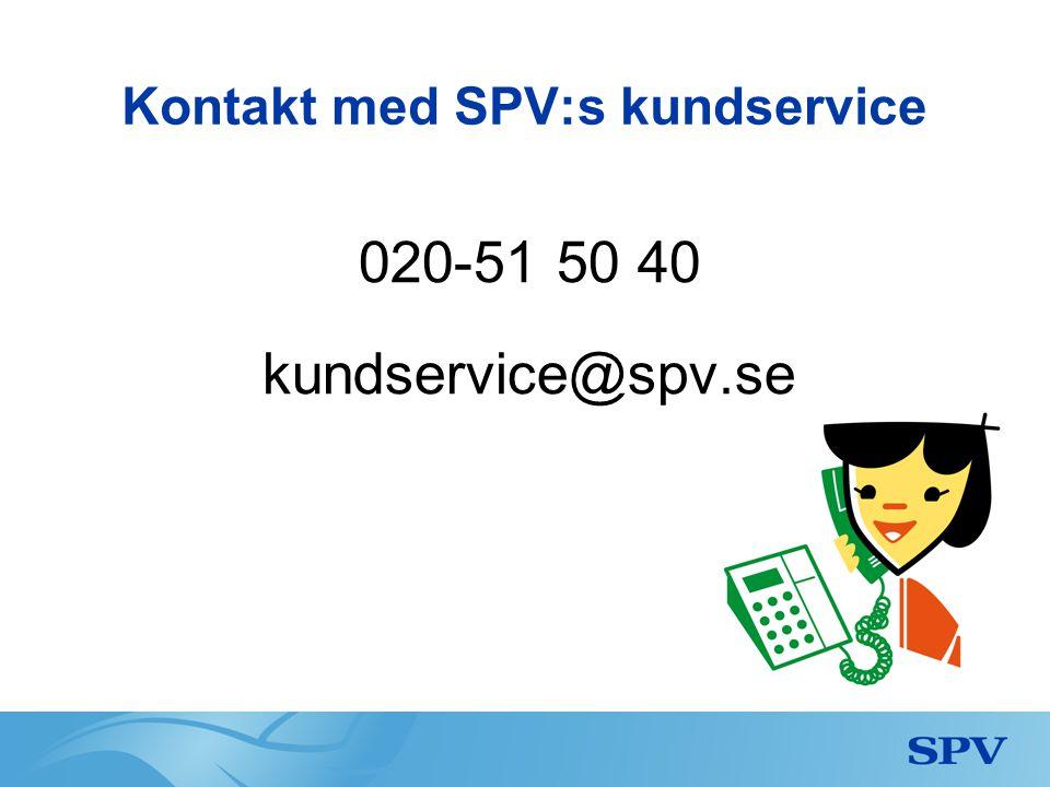 Kontakt med SPV:s kundservice