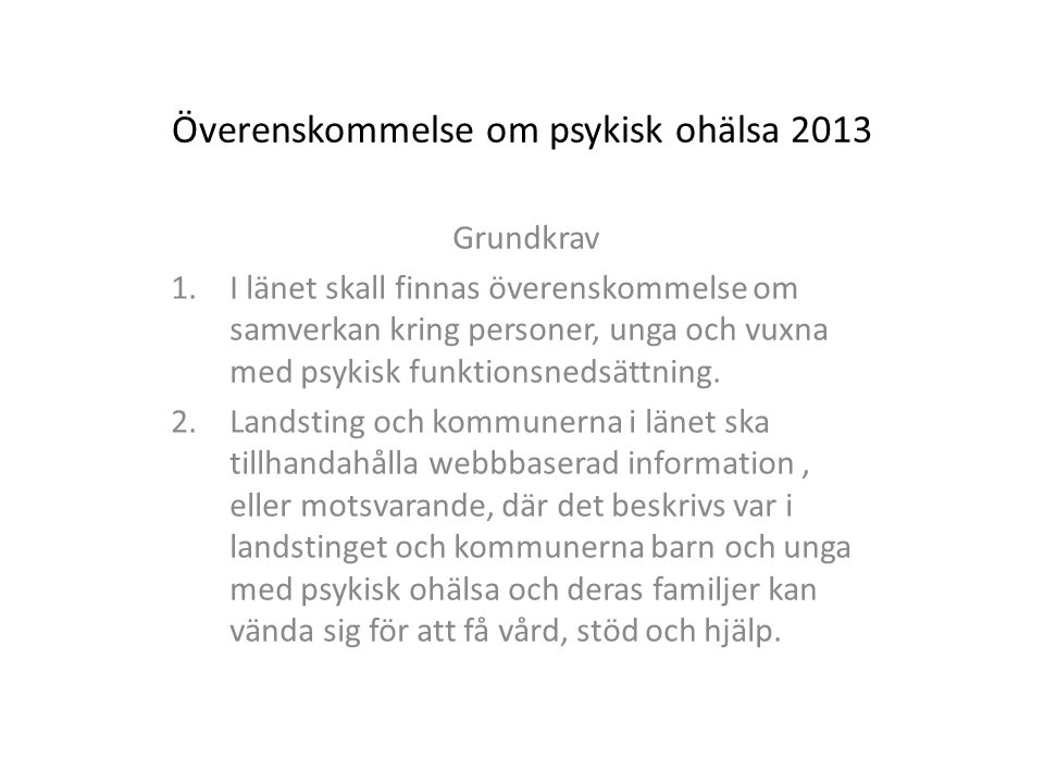Överenskommelse om psykisk ohälsa 2013