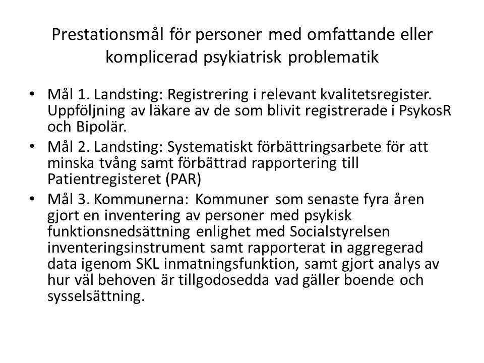 Prestationsmål för personer med omfattande eller komplicerad psykiatrisk problematik