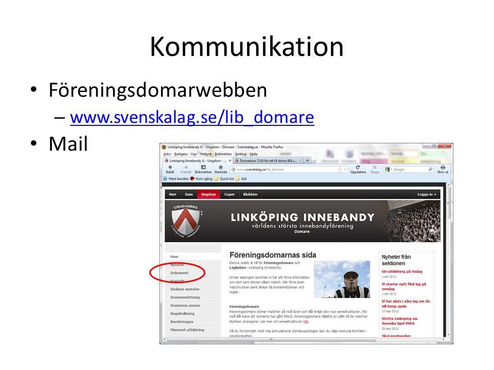 Kommunikation Föreningsdomarwebben www.svenskalag.se/lib_domare Mail
