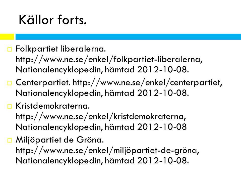 Källor forts. Folkpartiet liberalerna. http://www.ne.se/enkel/folkpartiet-liberalerna, Nationalencyklopedin, hämtad 2012-10-08.