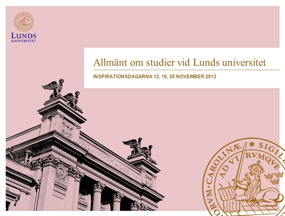 Allmänt om studier vid Lunds universitet