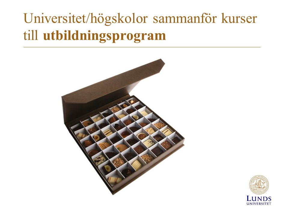 Universitet/högskolor sammanför kurser till utbildningsprogram
