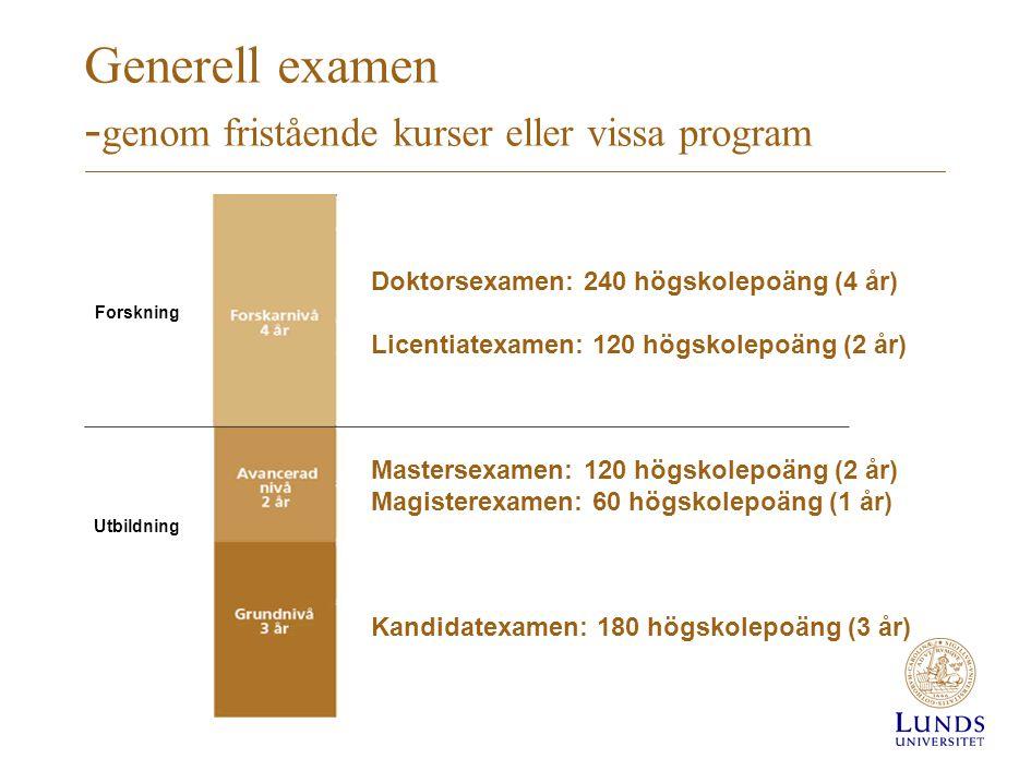 Generell examen -genom fristående kurser eller vissa program