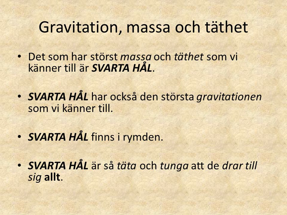 Gravitation, massa och täthet