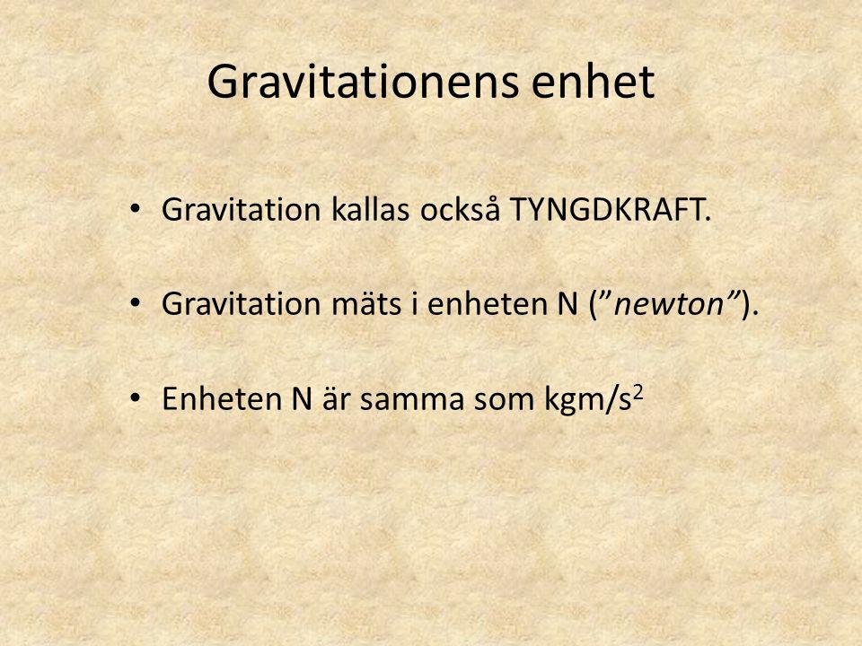 Gravitationens enhet Gravitation kallas också TYNGDKRAFT.