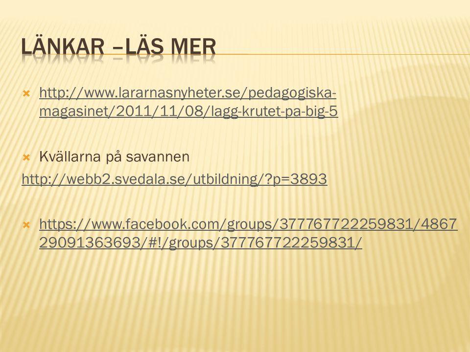 Länkar –läs mer http://www.lararnasnyheter.se/pedagogiska-magasinet/2011/11/08/lagg-krutet-pa-big-5.