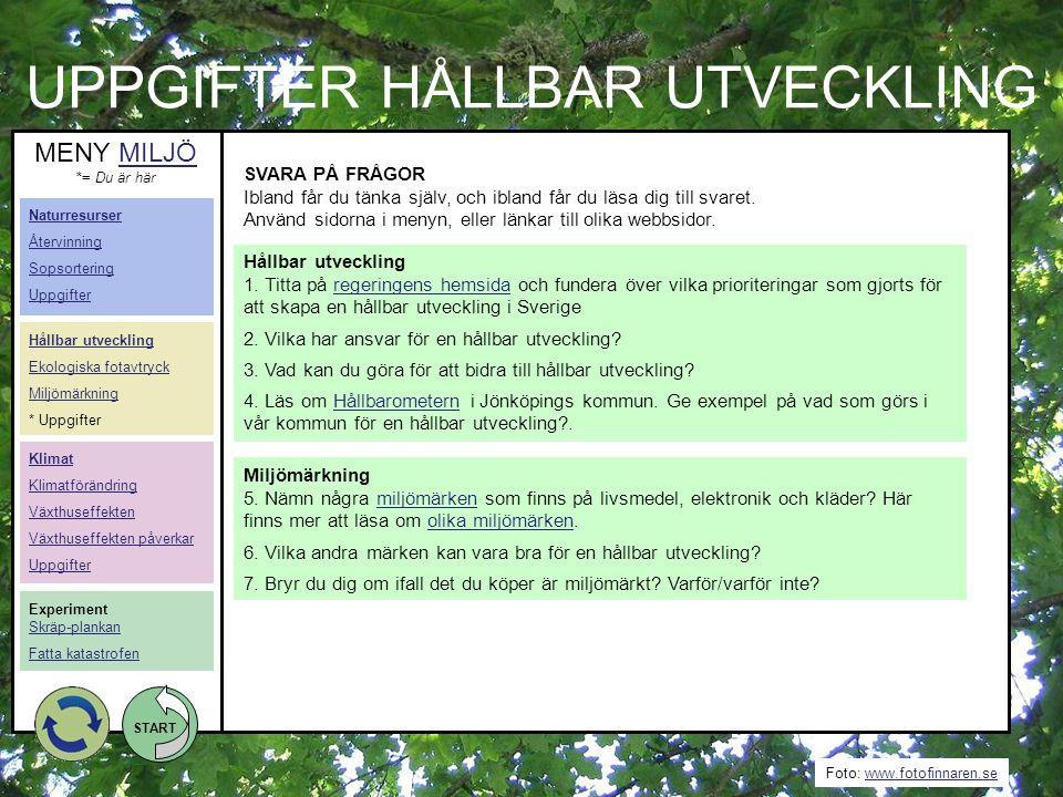 UPPGIFTER HÅLLBAR UTVECKLING