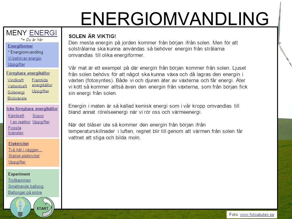 ENERGIOMVANDLING MENY ENERGI SOLEN ÄR VIKTIG!