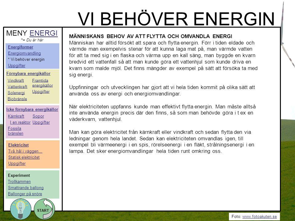 VI BEHÖVER ENERGIN MENY ENERGI